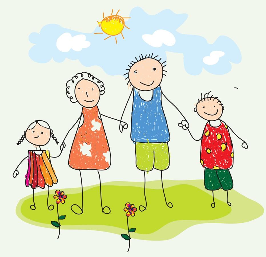 Днем, рисунки семья прикольные